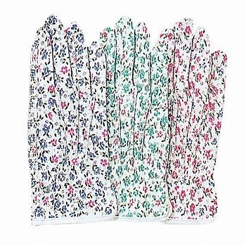 花柄スベリ止手袋 [400双入] SW-115 綿 マチ付き 滑り止め付き