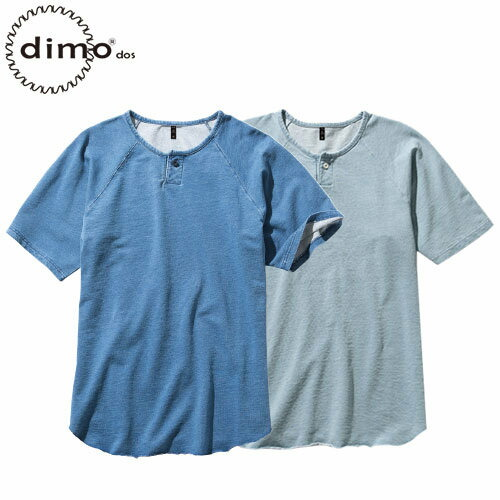 ニットデニムヘンリーネックTシャツ D407 半袖Tシャツ