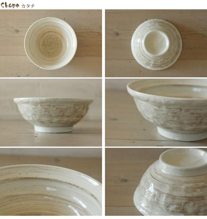 ISHIME石目_刷毛目粉引_6.8麺鉢,ラーメン鉢,うどん鉢