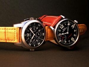 時計ベルトをモレラートのBOTEROとTIPO BREITLING CUOIOに交換したDANIEL JEANRICHRD GRAND TV SCREENとDANIEL JEANRICHRD DIT Bressel