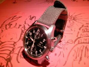 時計ベルトをモレラートのコーデュラ・ツーに交換したIWC PILOT'S WATCH CHRONO-AUTOMATIC