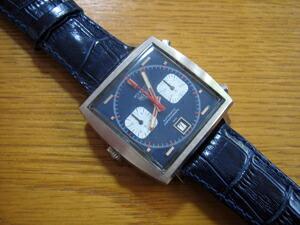 時計ベルトをモレラートのサンバに交換したHEUER MONACO 70年代 Steve McQueenモデル 1133B