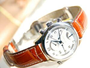時計ベルトをモレラートのグットゥーゾに交換したロンジンマスターコレクションレトログラ