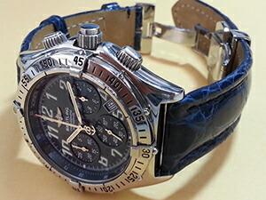 時計ベルトをモレラートのティポブライトリング3に交換したブライトリング クロノレーサ ラトラパンテ