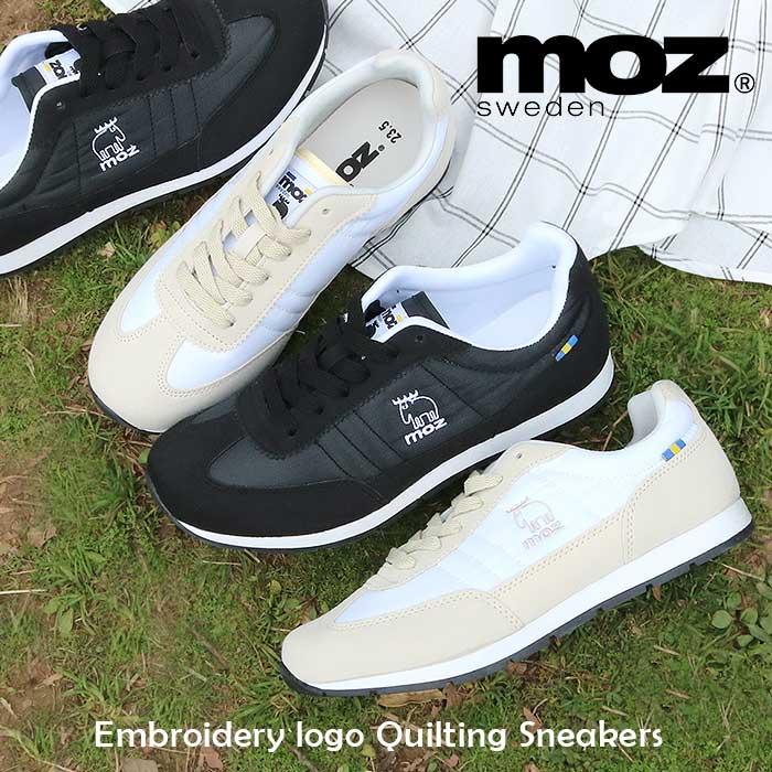MOZ モズ 刺繍 ロゴ キルティング レースアップ スニーカー