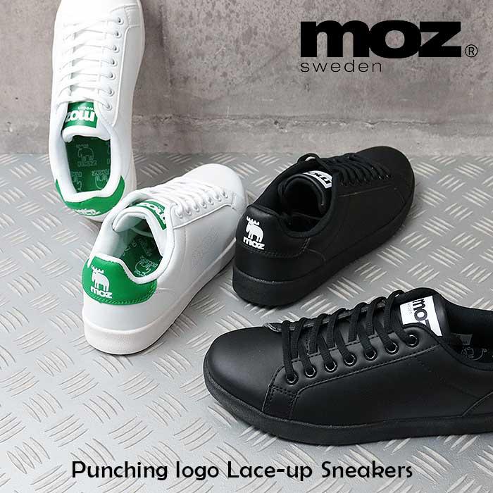 MOZ モズ パンチング ロゴ 合皮 レースアップ スニーカー