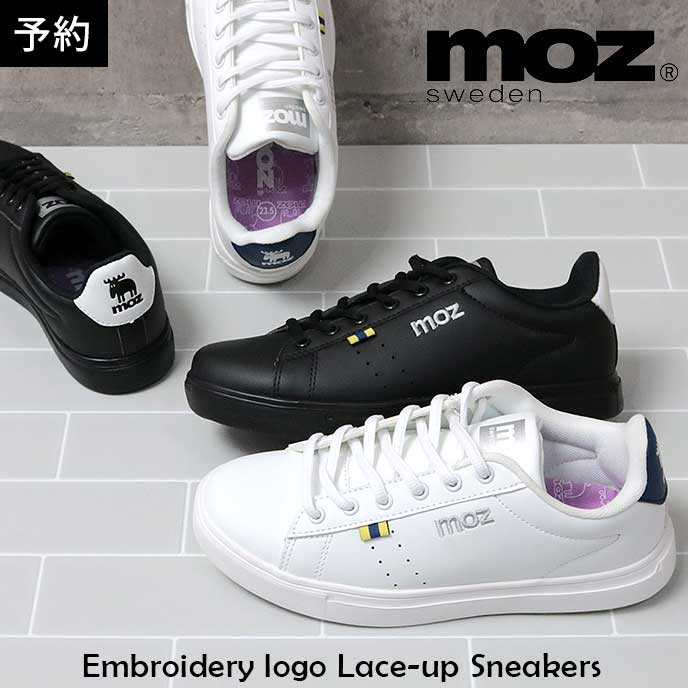 MOZ モズ 刺繍 ロゴ 合皮 レースアップ スニーカー