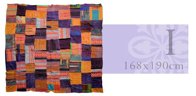 伝統のぬくもり*モン族刺繍*パッチワークマルチカバー