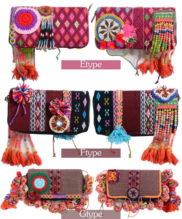 際立つ贅沢彩り。アフガニスタン刺繍ビーズ長財布