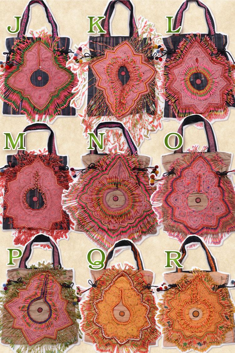 モン族刺繍とビーズしゃらりん♪ハンドメイドにときめくオンリーワントートバッグ♪