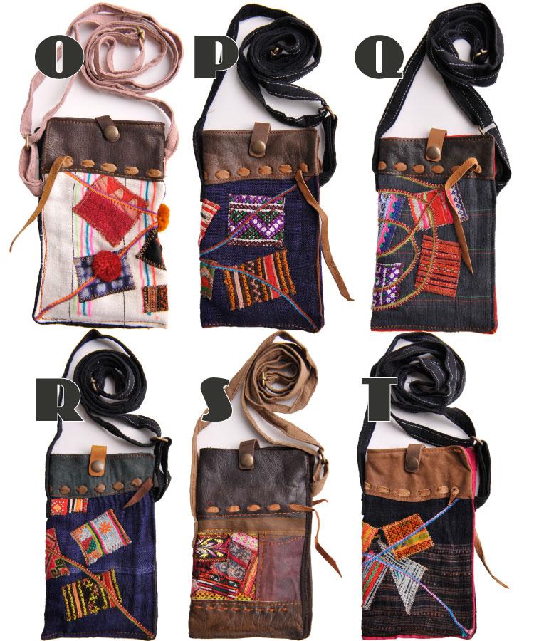 贅沢異素材。モン族刺繍ショルダースマホポーチ