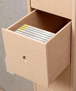 1杯の引き出しに約30枚のCDを収納できます。