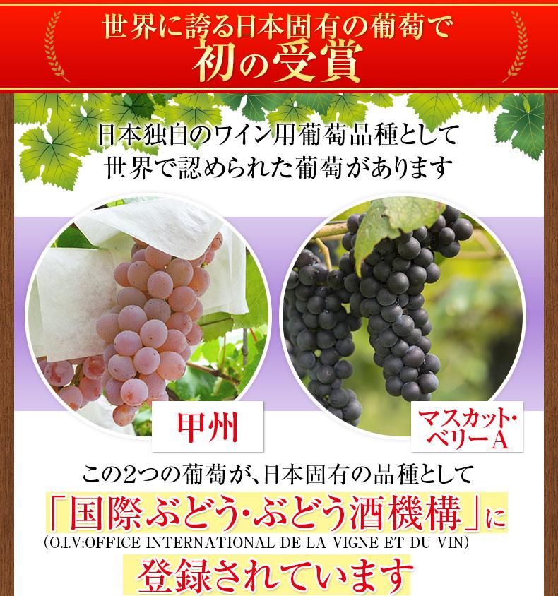 世界に誇る日本固有の葡萄で初の受賞 甲州 マスカット・ベリーA 「国際ぶどう・ぶどう酒機構」に登録されています