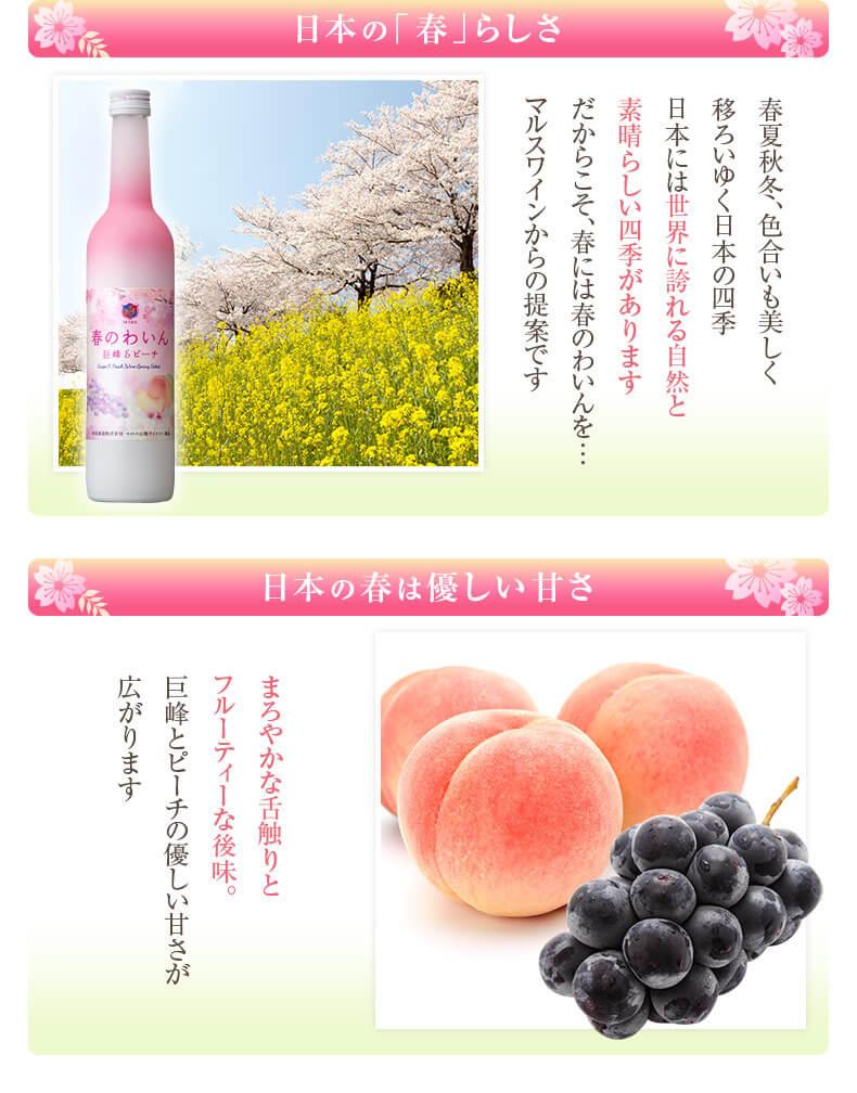 """日本の「春」らしさ 日本には世界に誇れる自然と素晴らしい四季があります 春には""""春のわいん""""を 日本の春は優しい甘さ まろやかな舌触りとフルーティーな後味 巨峰とピーチの優しい甘さが広がります"""