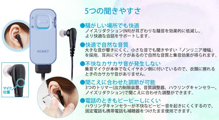 リオネットポケット型デジタル補聴器HD-21は、5つの聞きやすさ!
