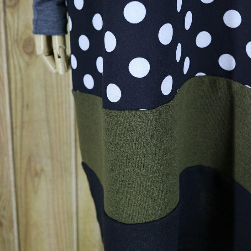 ef8d949e5897b 大きいサイズ チュニック ワンピー 水玉 ドット 配色 春 オーバーサイズでゆるっと着れる かわいい 半袖 チュニック ワンピース ドルマン ニット・カットソー  バイ ...