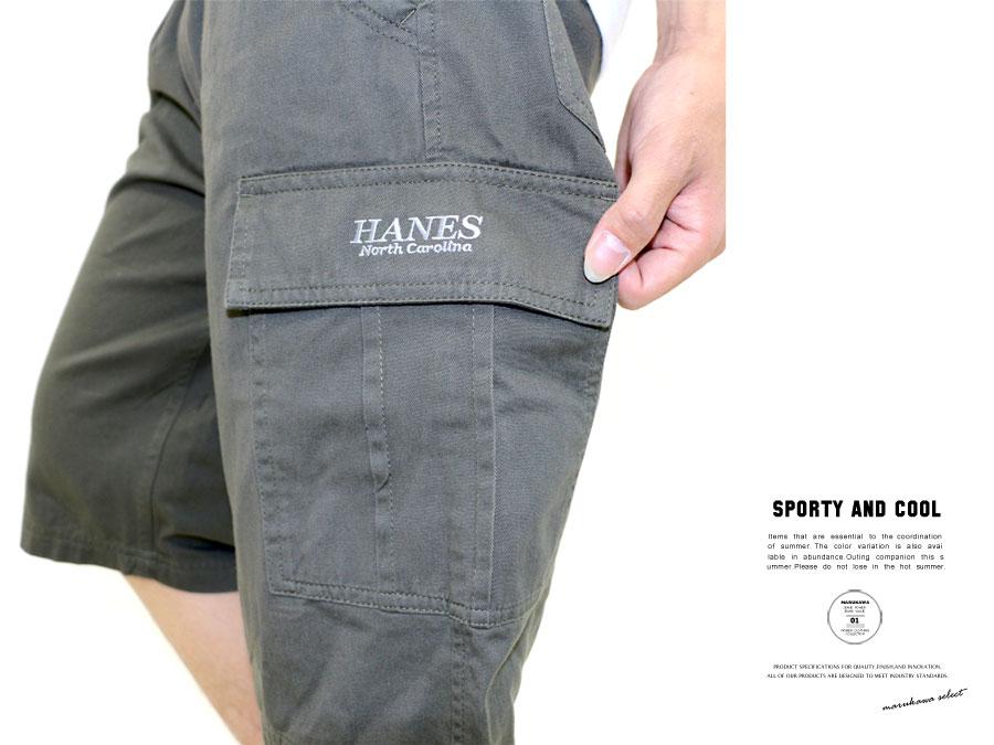 カーゴパンツ ハーフ ハーフパンツ メンズ ひざ下 パンツ メンズ カーゴ ショートパンツ ヘインズ Hanes チノ ハーフ イージー カーゴ ハーフパンツ XL LL