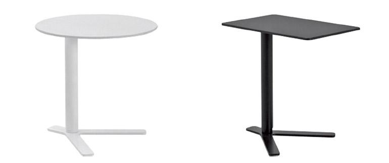 昇降式サイドテーブル 円形と長方形 白と黒のバリエーション