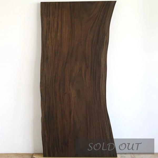 ブラックアイアンの脚とモンキーポッドの一枚板テーブル幅180