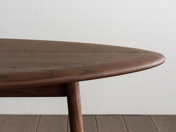 楕円形 無垢材ローテーブル