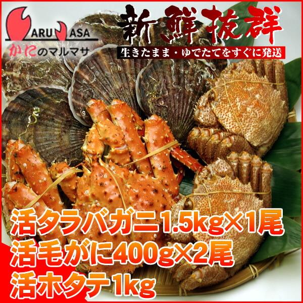 【かにのマルマサ】北海道海の幸福袋活タラバ1.5kg×1尾と活毛ガニ400g×2尾と活ホタテ1.0kgセット