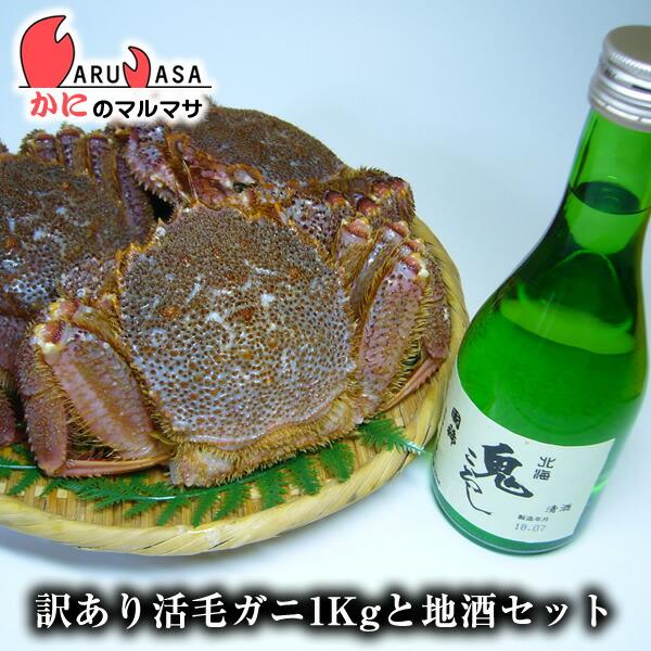北海道産 活毛がに&増毛の地酒(訳あり毛蟹ガニ1kg詰め・国稀日本酒1本)