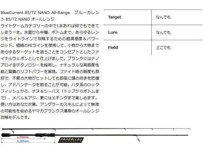 ヤマガブランクス ブルーカレント85/TZ NANO All-Range(2)
