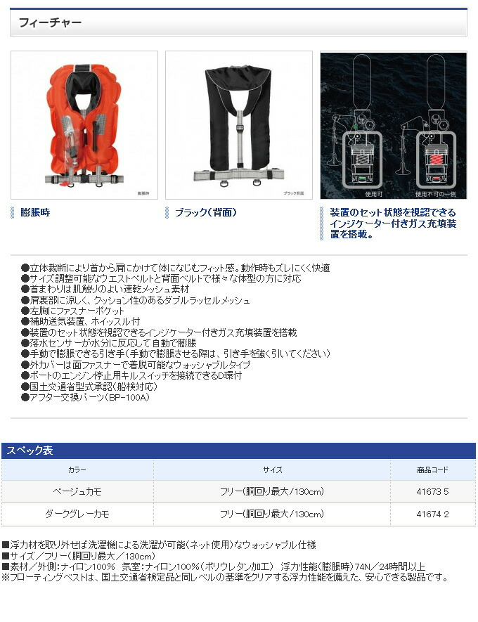 シマノ ラフトエアジャケット(膨脹式救命具) VF-051K(2)