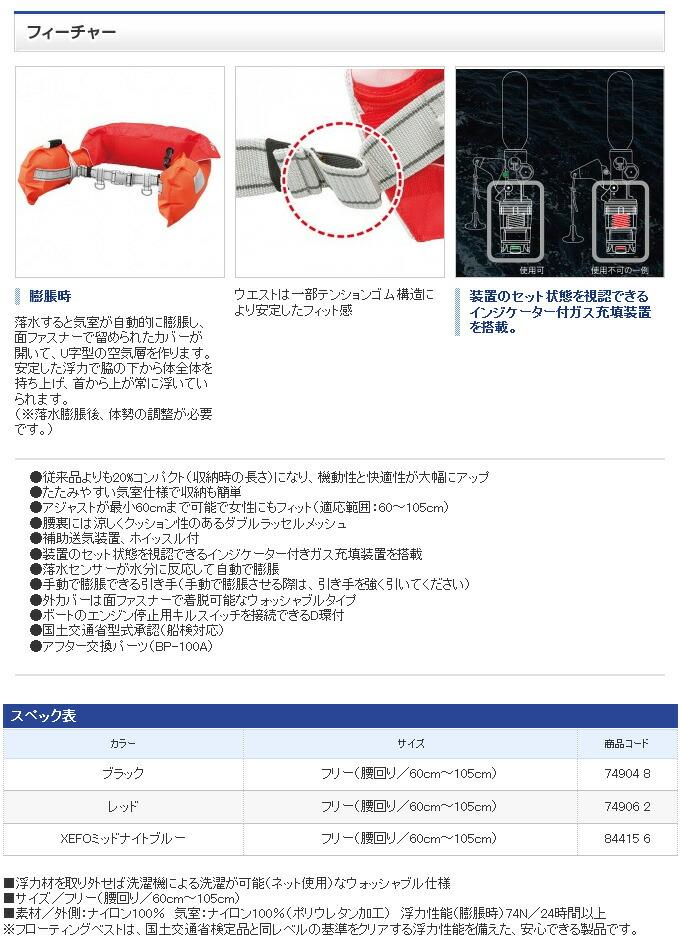 シマノ ラフトエアジャケット(ウエストタイプ・膨脹式救命具)  VF-052K(2)