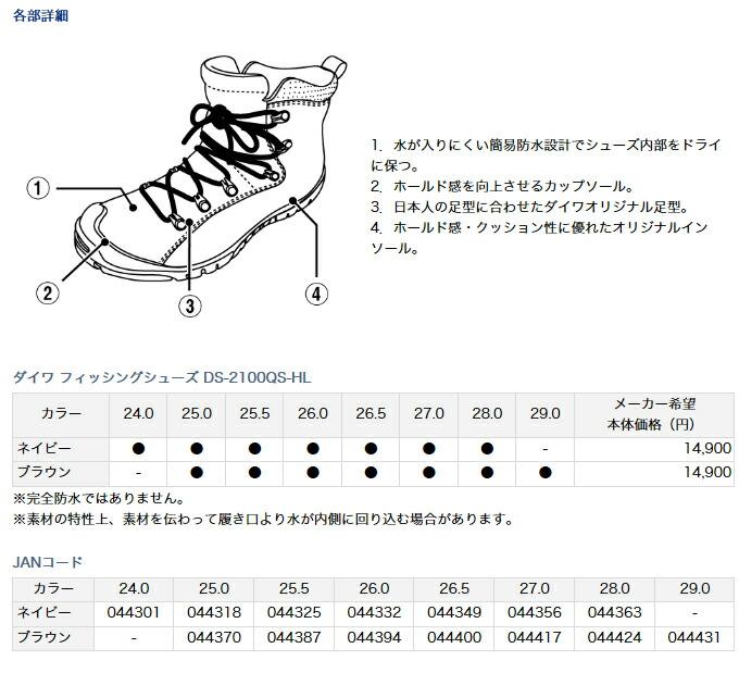 ダイワ・フィッシングシューズ DS-2100QS-HL