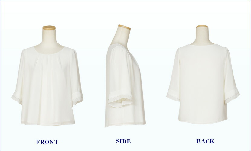 シフォン素材で透明感のある袖は7分丈でフリル調の可愛らしいデザイン。