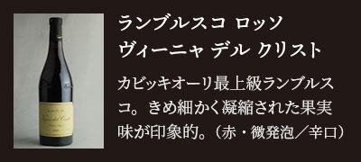 ランブルスコ ロッソ ヴィーニャ デル クリスト…カビッキオーリ最上級ランブルスコ。きめ細かく凝縮された果実味が印象的。(赤・微発泡/辛口)