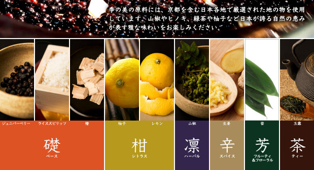 季の美の原料には、京都を含む日本各地で厳選された地の物を使用しています。山椒やヒノキ、緑茶や柚子など日本が誇る自然の恵みが表す雅な味わいをお楽しみください。