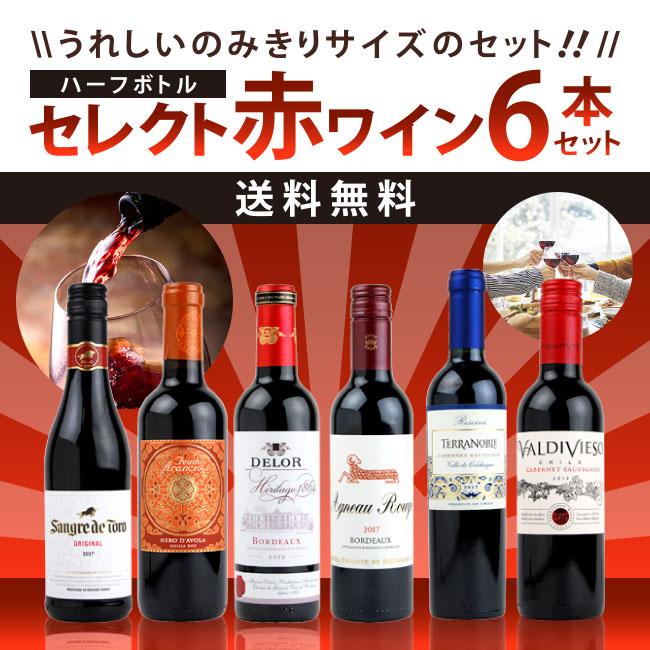 うれしいのみきりサイズのセット セレクト 赤ワイン ハーフボトル 6本セット 【送料無料】