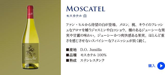 【ファン ヒル】 モスカテル 白…メロン、桃、キウイのフレッシュなアロマを補うジャスミンや白コショウ。種のあるジューシーな果実や甘露の味わい。ジューシーかつ爽快感ある果実。ほとんど重さを感じさせないスパイシーなフィニッシュが長く続く。■産地: D.O. Jumilla ■品種: モスカテル100% ■熟成: ステンレスタンク
