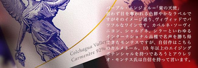 パープル・エンジェル=「紫の天使」思わず目を奪われる色鮮やかなラベルですがそのイメージ通り、ヴィヴィッドでパワフルなワインです。カベルネ・ソーヴィニヨン、シャルドネ、シラーといわゆるインターナショナル品種で名声を勝ち得てきたモンテスですが、自信作はこちらのカルメネール。10年以上のエイジングポテンシャルを持つであろうとアウレリオ・モンテス氏は自信を持って言います。