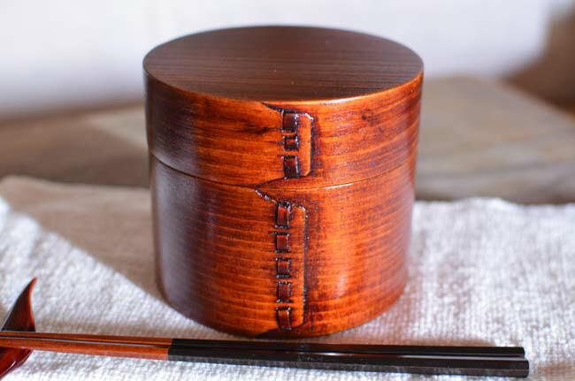 MUSTY 弁当箱 純木製 天然漆塗り 一段木製 学生 可愛いランチボックス 寿司 手