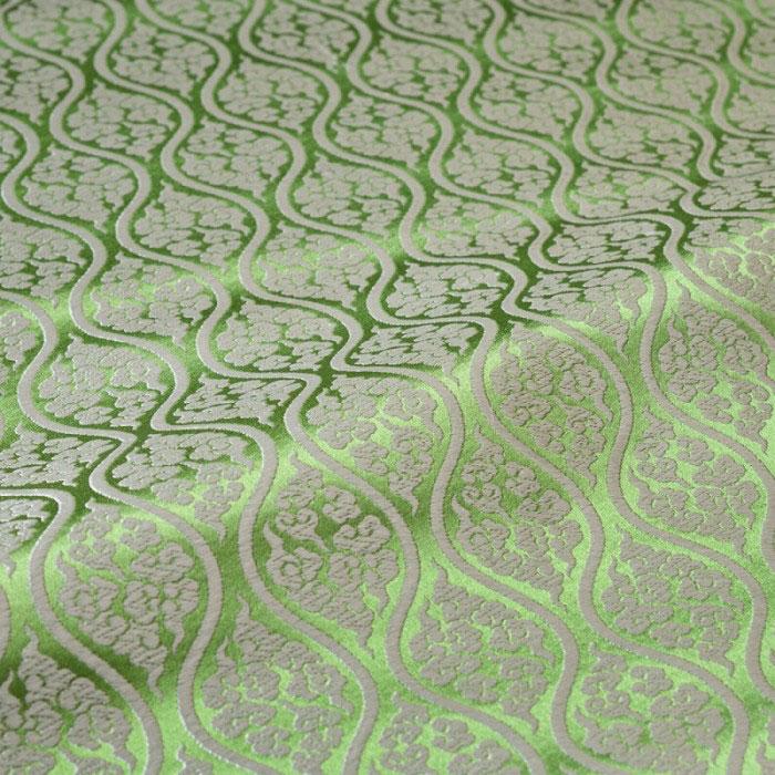 雲立湧 有職文様(緑) 西陣織 正絹