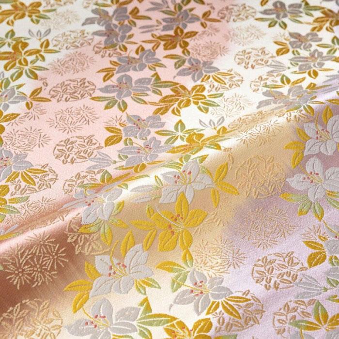 花 唐松 笹(紫) 西陣織 正絹
