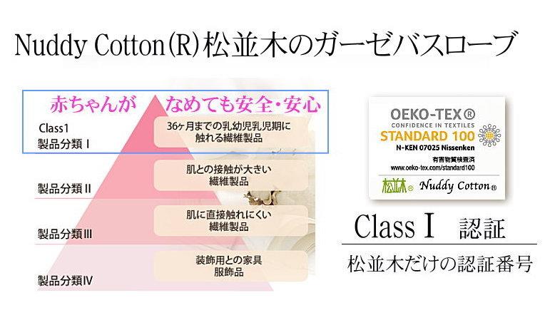 エコテックス・クラス1認証、赤ちゃんの肌に安全安心 ガーゼのバスローブ 綿100%のバスローブ