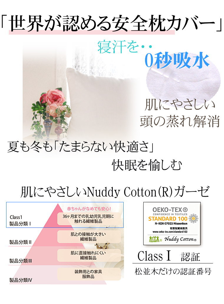 楽天1位★肌にやさしいタオル アトピー・敏感肌にもやさしい、世界最高の安全を認証 松並木の日本製 本物のガーゼ 枕カバー