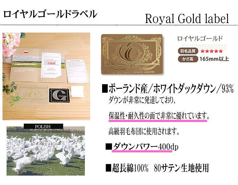 松並木の厳選 羽毛布団 クイーンサイズ ロイヤルゴールドラベル ホワイトマザーダック93%