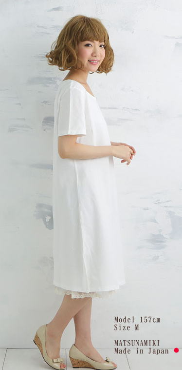 【Nuddy Cotton】(R)オフホワイト!ガーゼ2枚重ねガーゼワンピース