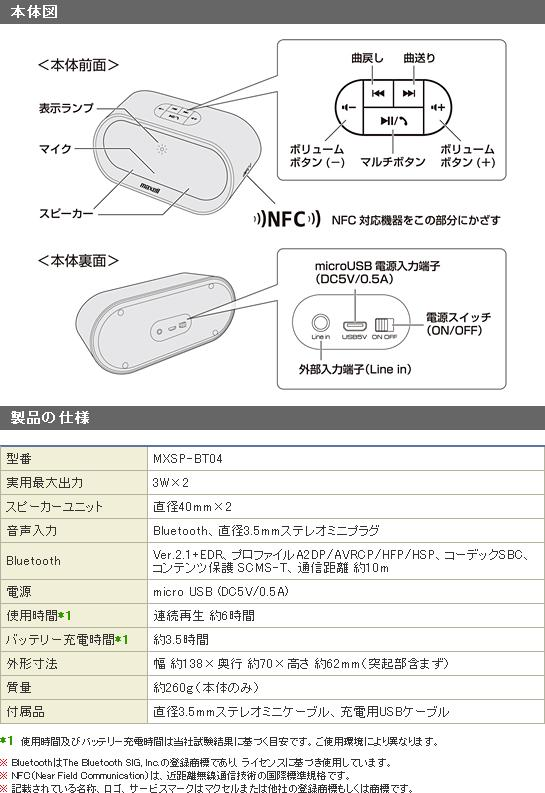 Bluetoothスピーカー MXSP-BT04