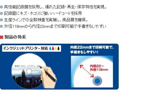 データ用ブルーレイディスクBD-R 「Plain style」 (1~4X対応)  インクジェットプリンター対応品  (5枚パック) BR25PPLWPB.5Sの仕様1