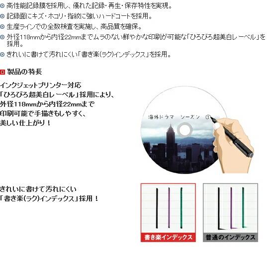 データ用ブルーレイディスクBD-R (1~6X対応) インクジェットプリンター対応品「ひろびろ超美白レーベル」(10枚パック) BR25PWPC.10Sの仕様1