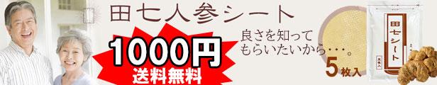 ★お試し価格★ 1000円ポッキリ!送料無料!!田七シート 5枚入り