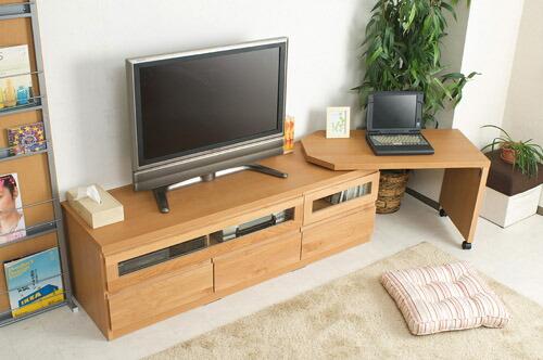 木製テレビ台 ≪アルダー材テレビボード回転盤付 150.5cm幅≫ ナチュラルタイプの画像