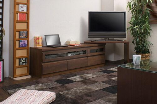 木製テレビ台 ≪アルダー材テレビボード回転盤付 150.5cm幅≫ ダークブラウンタイプの画像