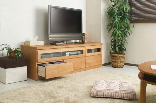 木製テレビ台 ≪アルダー材テレビボード 150.5cm幅≫ ナチュラルタイプの画像